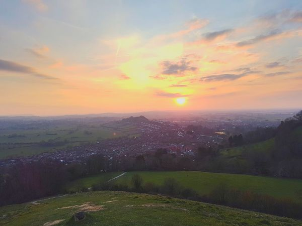 Sunset over Glastonbury Town from Glastonbury Tor Landscapes With WhiteWall