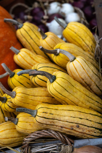 Close-up of yellow fruits for sale at market stall