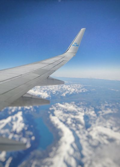 the Alps in Zwitserland. Inside a plane of the KLM