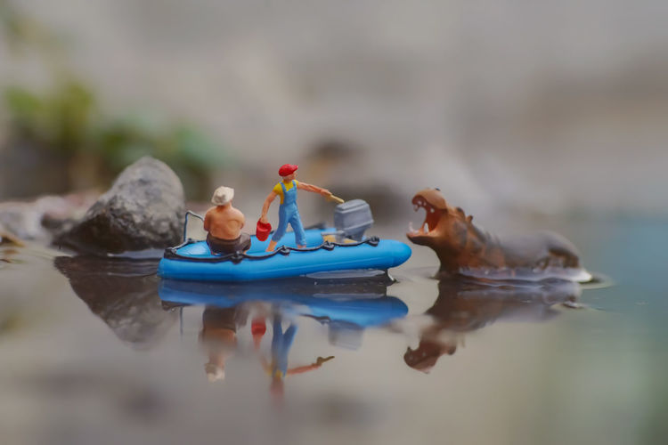 Close-up of stuffed toy floating on lake