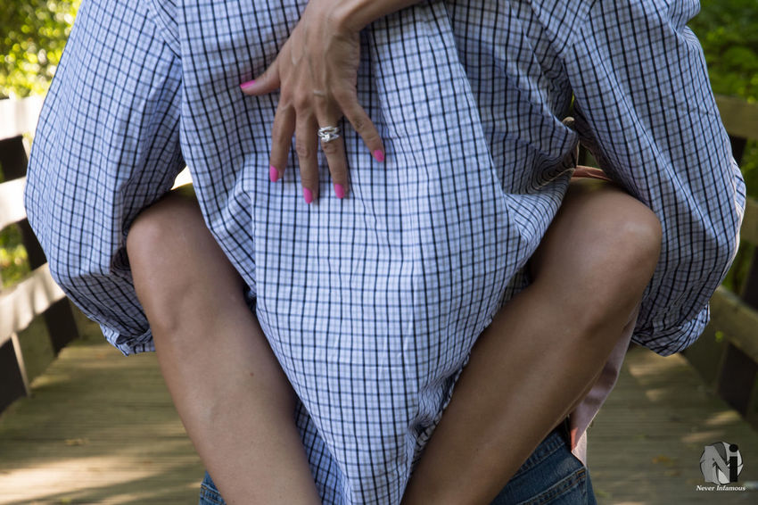 A grip on forever. Midsection Person Focus On Foreground Casual Clothing Affectionate Top - Garment Day People And Places People In Places Pennsylvania Lifestyles Fashion Photoshoot Woman Female Male Photography Depth Of Field People Couple Engagement Engaged Engagement Ring Hands Love