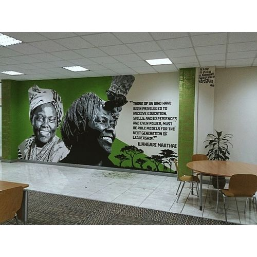 "My second mural of the mural series at the United States International University Africa (USIU) Library. Thank you to the Vice Chancellor Professor Freida Brown and my artistic team of Kerosh, Sheila Cleo, Mabel Rubadiri and Felok. ""Those of us who have been privileged to receive education, skills and experience, and even power, must be role models for the next generation of leadership."" Wangari Muta Maathai was a Kenyan environmental and political activist and A Nobel Peace prize Laureate. Power Wisetwo Nairobi Kenya USIU Africa graffiti muralart murals stencils stencilart education Graffitigoesintellectual"