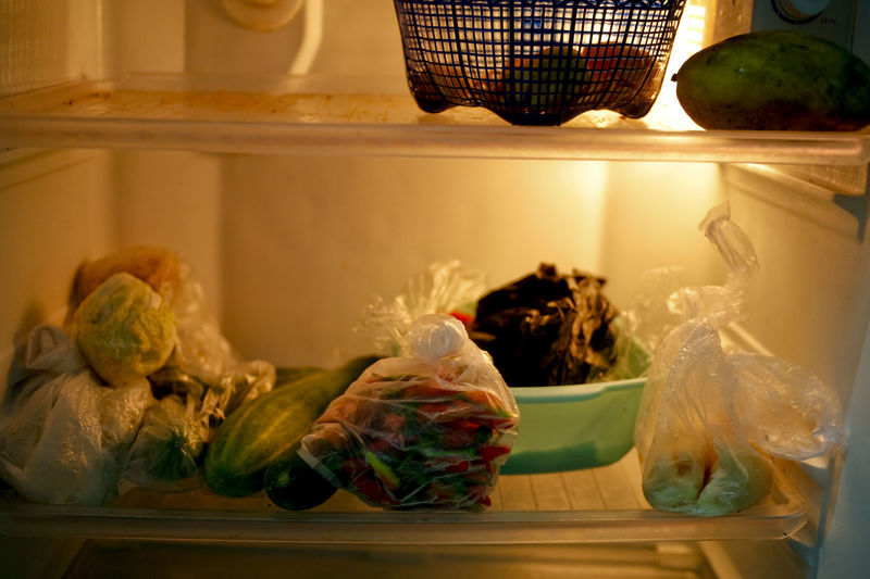 View of food on refrigerator at home