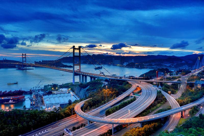 High angle view of tsing ma bridge