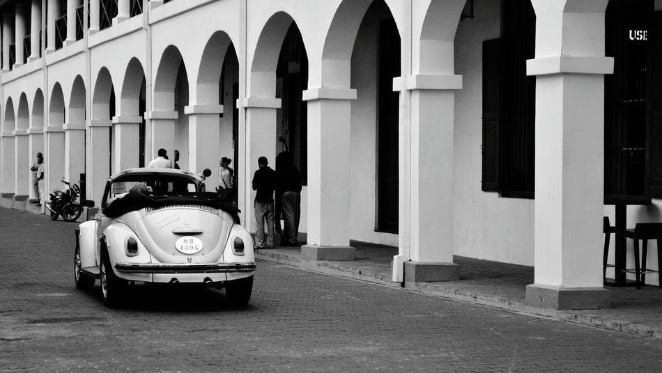 B&w Street Photography Vintage Cars Galle Fort SriLanka Old World Architecture
