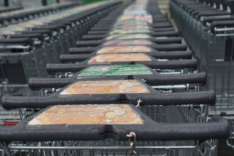 shopping carts are raining Rain Drops Abandoned Backgrounds Close-up Day Decline Full Frame Gray Gray Background High Angle View In A Row It Rains Metal Nature No People Old Orange Color Outdoors Pattern Repetition Selective Focus Shopping Carts Silver Colored Track Transportation