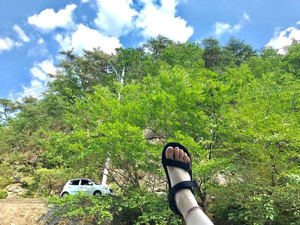 Breathing Space Trees Sky And Clouds Nature White Car Foot Anklet
