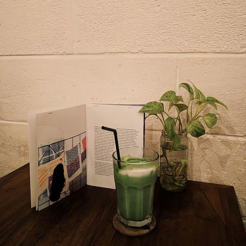 matcha and latte Table Drinking Glass Plant Refreshment Drink Indoors  Potted Plant First Eyeem Photo