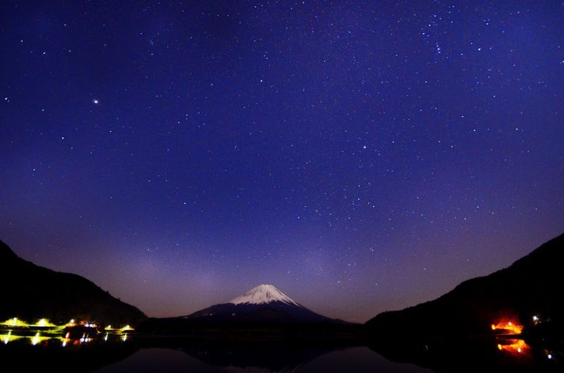 Japan Lake Shoji Mount FuJi Night Night Photography Night Lights Starry Sky Landscape Of Japan