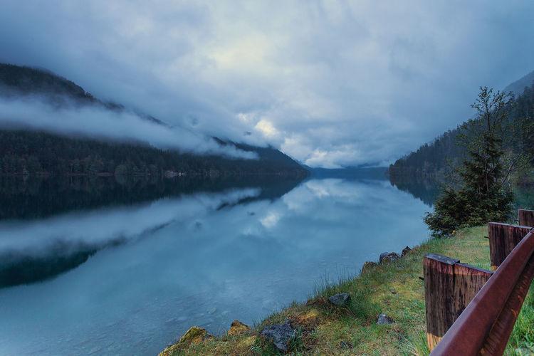 Scenic view of calm lake crescent