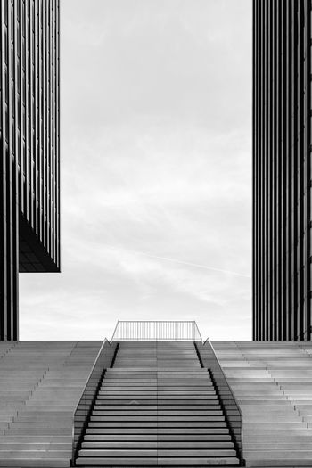 Empty stairs in the Media Harbour in Düsseldorf Airport Architecture Black And White Built Structure City Düsseldorf Germany Hyatt Regency Lines And Shapes Modern Monochrome No People Northrhein Westfalia Office Building Skyscraper Staircase Stairs Stairs_collection Symmetry Tall - High