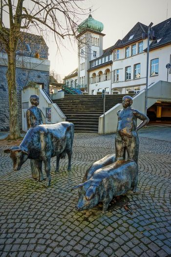 cattle market Animal Themes Architecture Building Exterior Built Structure Cattle-market Day Framehouses Herdecke In Westphalia No People Old Town Square Outdoors Sculpture Sky Small Town Statue Tree Village Photography