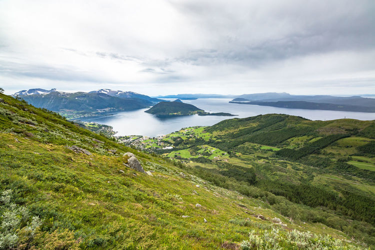 Green Hiking Norway Rain Rainy Days Rosendalalps Weather Beauty In Nature Day Fjord Folgefonna Folgefonnanasjonalpark Grass Green Color Landscape Mountain Nature No People Outdoors Scenics Sea Sky Tranquil Scene Tranquility Water