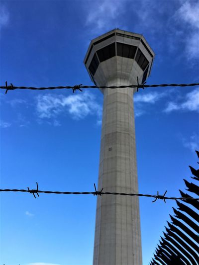 Air Traffic Control Tower Airport Architecture Aviation Aviationphotography Barbed Wire Blue Sky Fence Lookout Lookout Tower Perth Airport Perth Australia Plane Spotting Security Sentry Sky Taking Photos Tower Watch Tower The Architect - 2017 EyeEm Awards Go Higher Visual Creativity