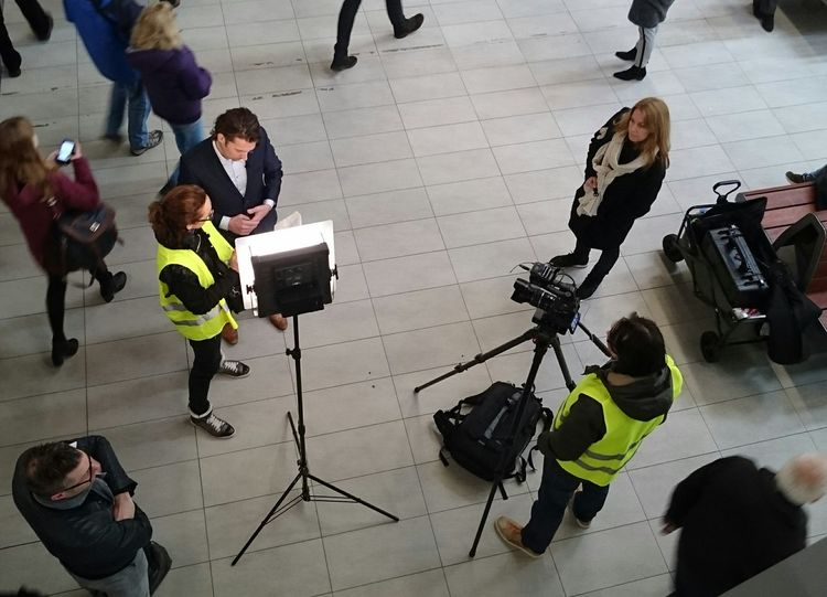 A Local News Crew Filming at Utrecht Centraal Station Journalist and Producer Discuss how to Tell The Story while an Onlooker Wonders about the Subject of the Story (c) 2016 Shangita Bose All Rights Reserved Showcase: February The Portraitist - 2016 EyeEm Awards The Street Photographer - 2016 EyeEm Awards The Photojournalist - 2016 EyeEm Awards My Commute