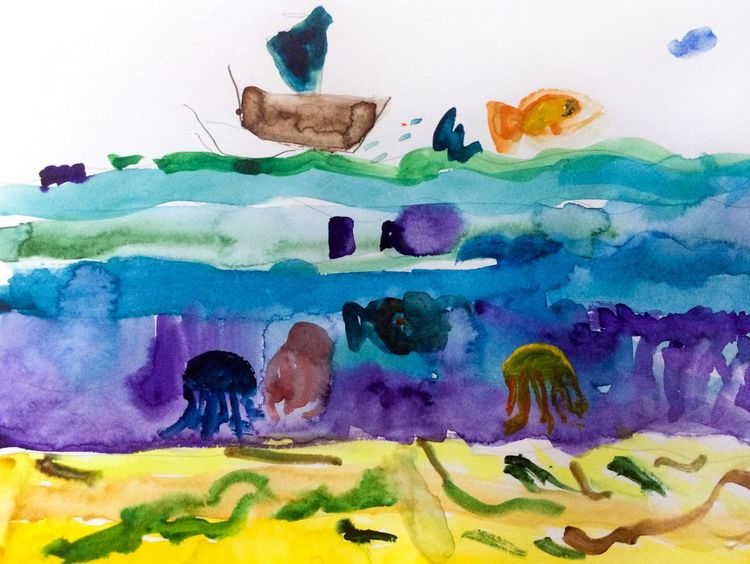 Sea Sea Life Child Drawing Hand Drawing Drawing Picture Child Paint Multi Colored No People Watercolor Painting Watercolor Painting Underwater Underwater World Alex Drawing Алекс рисует 7 Years Old Painted Image Boat Fish Jellyfish Seabed Abstract 4 lesson