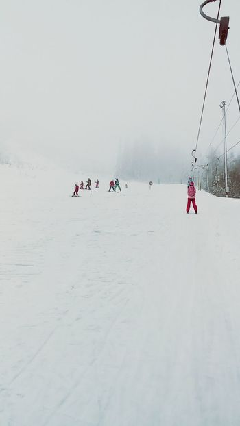 Enjoying Life Skiing Mountains Winter White By CanvasPop