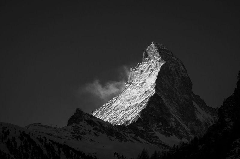 Matterhorn  Zermatt Switzerland Winter Swiss Alps Swiss Mountains Mountain Snow Cold Temperature Sky Scenics - Nature Beauty In Nature Snowcapped Mountain Tranquil Scene Tranquility Mountain Range No People Nature Mountain Peak Skyline Blackandwhite Travel Europe