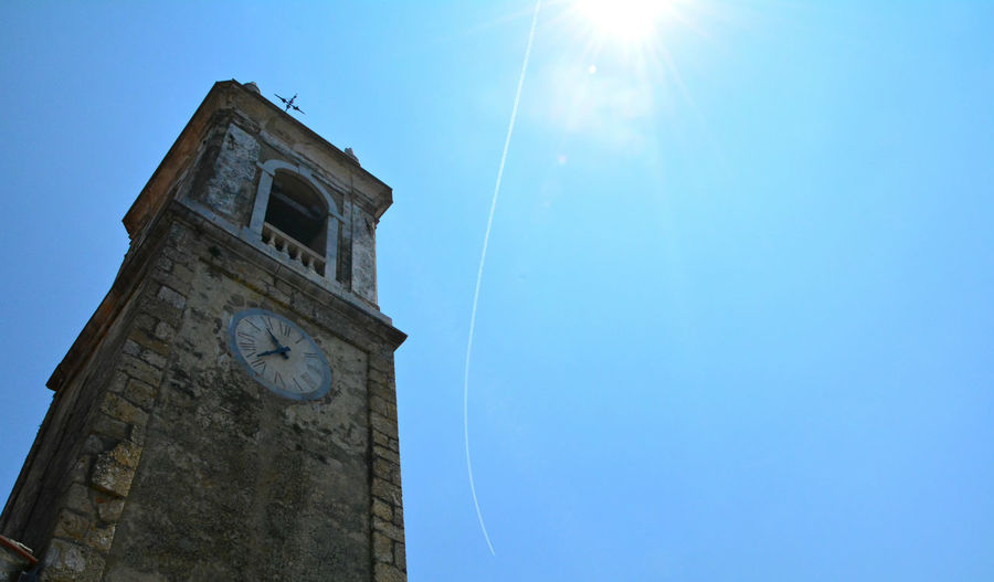 Bell tower and blue sky - Monteggiori (Camaiore), Lucca, Italy. Architecture Bell Tower Blue Bright Built Structure Camaiore Church Clear Sky Day High Section Italia Italy Low Angle View Lucca Monteggiori No People Outdoors Sky Sun Sunbeam Sunlight Sunny Tall - High Toscana Tuscany