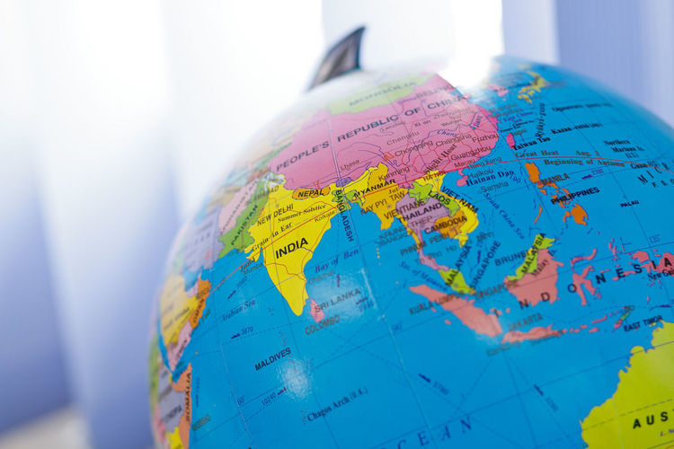 Closeup world globe map in the classroom. Education, Business and Travel Concept. Globe earth map focus on South East Asia Globe - Man Made Object Planet Earth World Map Map Travel Sphere Physical Geography Planet - Space Global Business No People Text Indoors  Space Guidance Close-up Exploration Shape Business Nature Direction Global Communications Topography Edication Business Travel Destinations South East Asia Globe Information