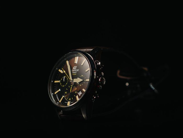 Casio Edifice Watch 1.. Getty Images EeyemBestEdits Lightroom Homestudio  Casioedifice Casio Hsphoto Casiowatch Time Copy Space Clock Close-up Indoors  No People Studio Shot Watch Wristwatch Black Background Technology
