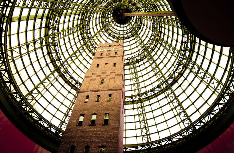 Built Structure Architecture Low Angle View Indoors  Pattern No People Dome Ceiling Design Day Building Travel Destinations Shape Geometric Shape Skylight Cupola Glass - Material History Tourism Architecture And Art Directly Below Ornate Melbourne Central Shopping Centre
