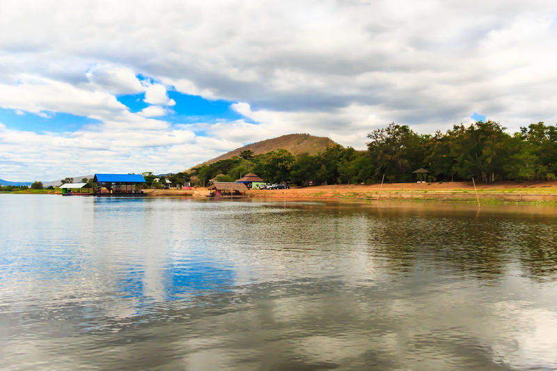 Scenic view of calm lake against cloudy sky