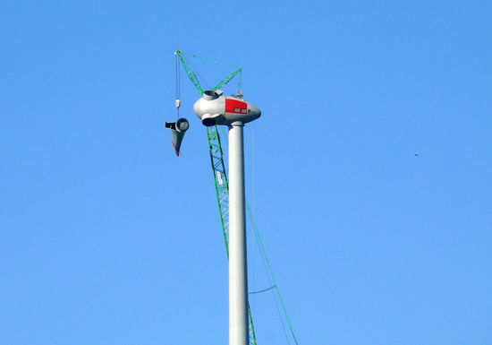 Anti Atom Aufstellen Blue Blue Sky Clear Sky Day Kran Low Angle View Montage Nature No People Outdoors Pole Repeller Sky Windcraft Windenergie Windmill Windrad