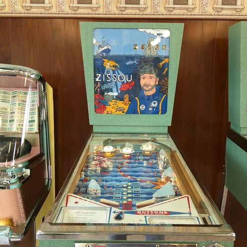 The Life Aquatic pinball machine at Bar Luce in Milan. Wes Anderson designed a great space. The food and drinks equaled the decor. Great experience! Barluce FondazionePrada Wesanderson Pinball Thelifeaquatic