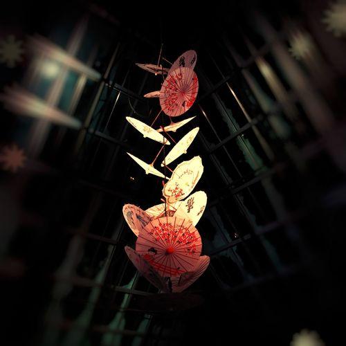 Umbrellas Lunar New Year Hanging Decoration Illuminated Close-up Night Celebration