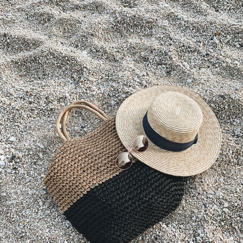 High angle view of hat on sand at beach