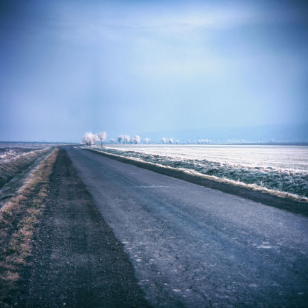 almost winter (holga lens) Holga Landscape_Collection Beauty In Nature Cold Temperature Day Holgalens Landscape Landscape_photography Nature No People Outdoors Road Scenics Sky Snow The Way Forward Transportation Winter
