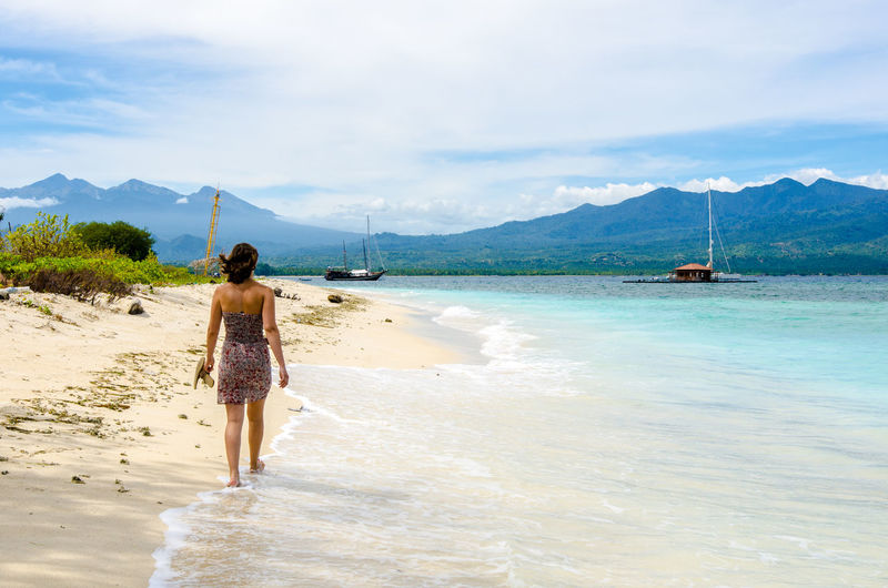 Beach Beauty In Nature Boat Cloud Cloud - Sky Day Gili Air Gili Islands Girl Idyllic Nature Outdoors Paradise Paradise Beach Scenics Shore Sky Tranquil Scene Tranquility Water