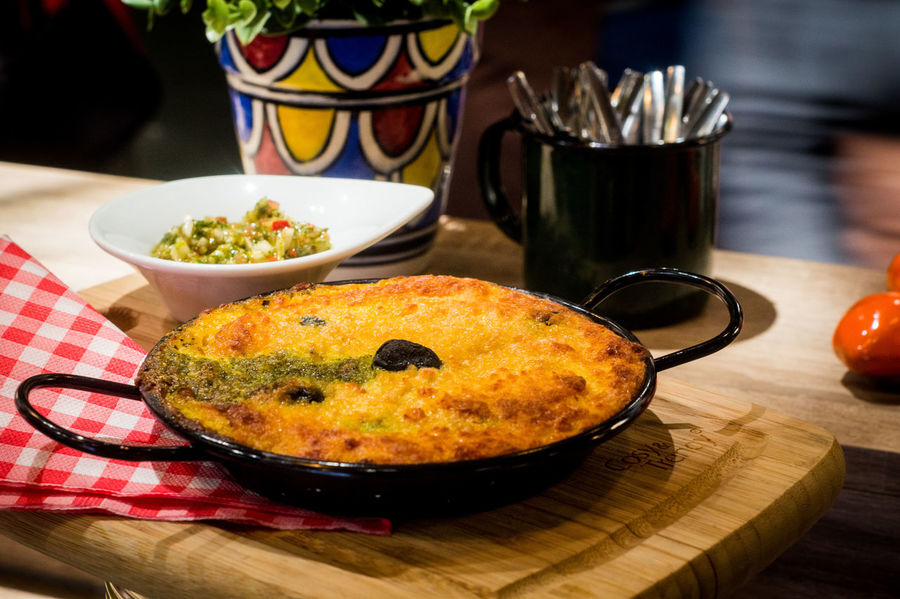 Chilean corn cake Bowl Chile Peppers Chilean Food Close-up Cutting Board Day Food Food And Drink Freshness Healthy Eating Indoors  No People Plate Ready-to-eat Table