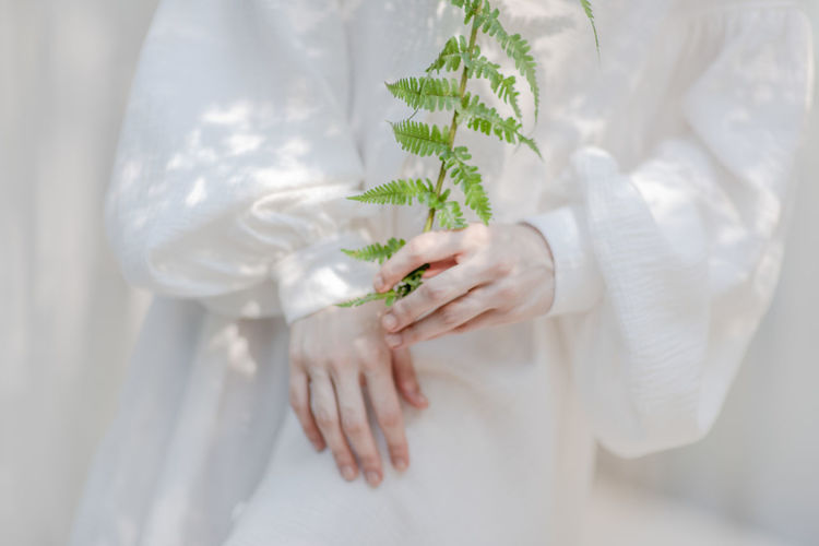 Midsection of woman holding leaf against curtain at home