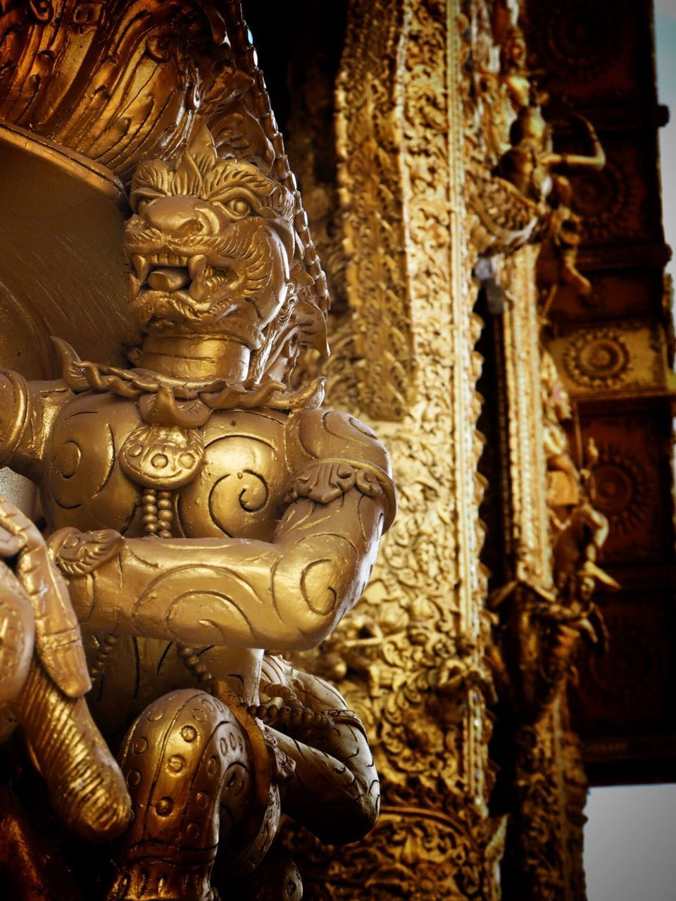 religion, spirituality, gold colored, statue, place of worship, sculpture, art and craft, gold, no people, indoors, close-up, golden, day