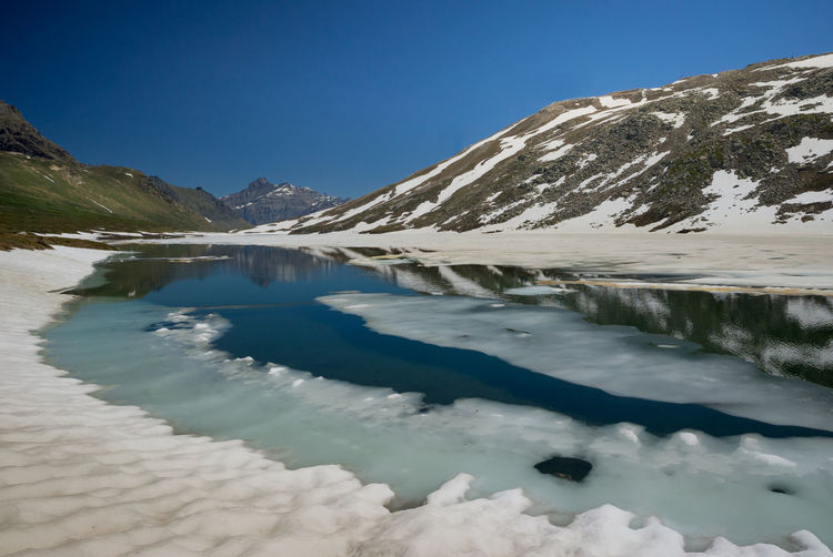 Col del Nivolet Beauty In Nature Clear Sky Col De Nivolet Gran Paradiso National Park Ice Lake Mountain Range Piedmont Italy Snow