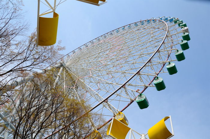 Amusement Park Ride Amusment Park Art Culture And Entertainment Ferris Wheel Low Angle View Sky Travel Destinations Yellow Osaka,Japan