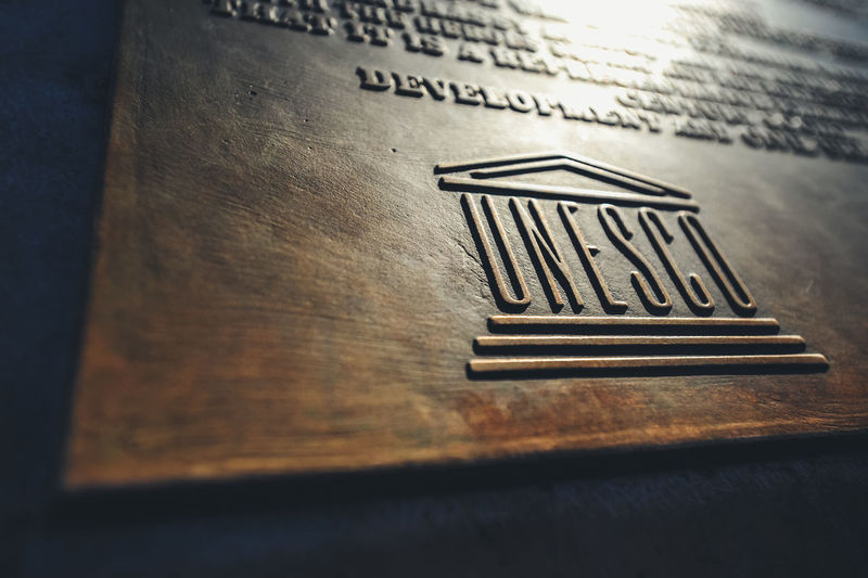 UNESCO logo and coat of arms UNESCO World Heritage Site Unesco Text Close-up History Travel Travel Destinations Traveling Logo Design Logo Coat Of Arms Travel Photography Tourism Culture Heritage Culture Sightseeing Famous Place Landmark United Nations Heritage Budapest Hungary Tourist Attraction