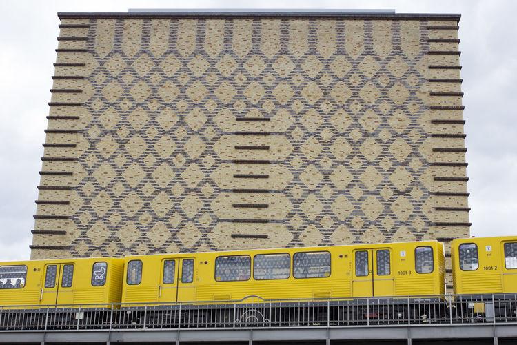 Close-up of train on railway bridge
