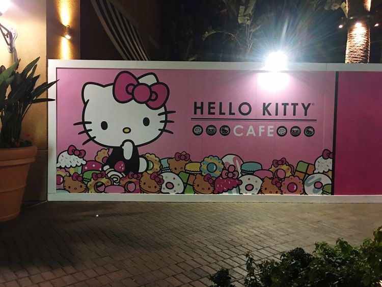 Hello Kitty Cafe - Irvine, California Sign Hello Kitty Cafe Drinks Dessert Pastries Irvine Irvine Spectrum California Orange County Orange County, Ca SoCal Hello Kitty <3 Hello Kitty ❤ Japanese  Sanrio Night Nightphotography Night Lights Signage Business Places Tourist Attraction
