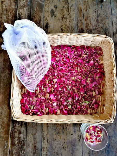 Rose Tea Dried Petals Drink Freshness Food High Angle View