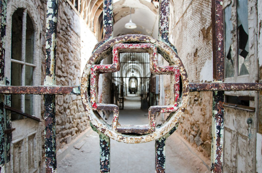 Cross Day Door Eastern State Penitentiary Indoor Jail Light Metal No People Old Buildings Penitentiary Philadelphia Red Color USA USAtrip