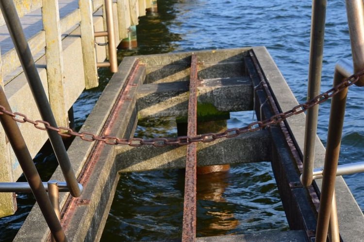 Seebrücke Anleger Water Built Structure Architecture Nature Day Railing Wood - Material Transportation High Angle View Metal River No People Outdoors Nautical Vessel Rusty Sunlight Rippled Wooden Post