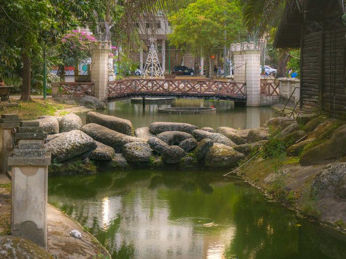 Wooden Bridge River In City City Life