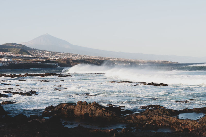 Water Wave Mountain Sea Beach Power In Nature Clear Sky Sky Horizon Over Water Landscape Seascape Coast Coastal Feature Ocean Rock Formation Coastline Rocky Coastline Calm My Best Photo Stay Out The Great Outdoors - 2019 EyeEm Awards
