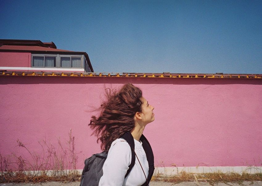 Frau Else 🦄 35mm Analogue Photography Pink The Street Photography - 2016 EyeEm Awards The Portraitist - 2016 EyeEm Awards Colors Filmisnotdead Wanderlust Windy Sicily Traveling Feel The Journey On The Way