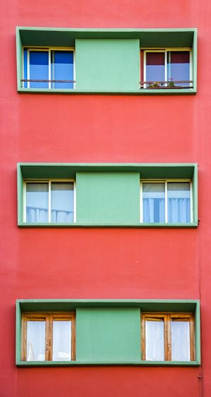 One, Two, Three Shapes And Forms Geometry ın A Row Facade Details Facade Detail Façade Colorful Complementary Colors Red Green Building Exterior Built Structure Architecture Window No People Day Outdoors Residential Building Full Frame Close-up