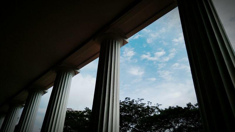 Pillar Xiaomiphotography Xiaomiindonesia Xiaomiredmi4prime Architecture Architectural Column Window Cloud - Sky Sky Built Structure Indoors  Day Politics And Government No People Cityscape Architecture Building Exterior Jakarta Cityscape Jakarta Indonesia First Eyeem Photo