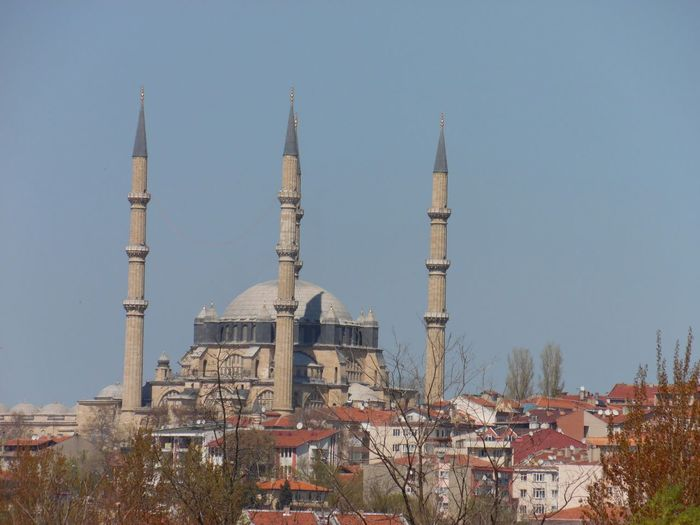 High angle view of blue mosque against clear sky